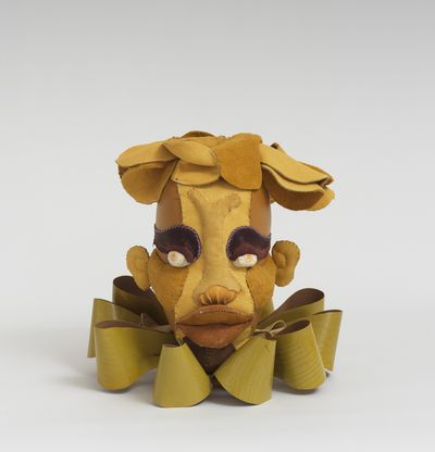 Soft sculpture of leather and cloth, Olivine by Tau Lewis