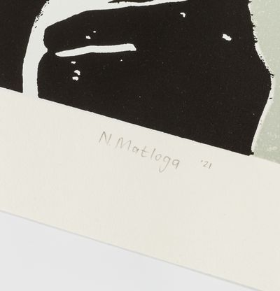 a greayscale collage of a face by artist Neo Matloga - close up of the signature