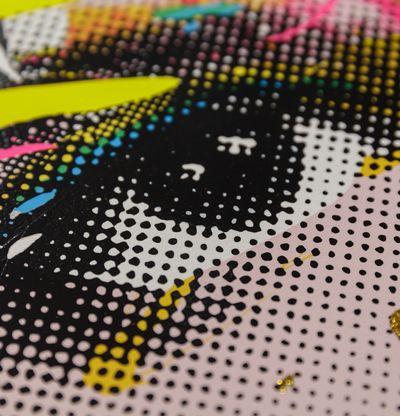 Detail of woman's eye in a Pop Art style
