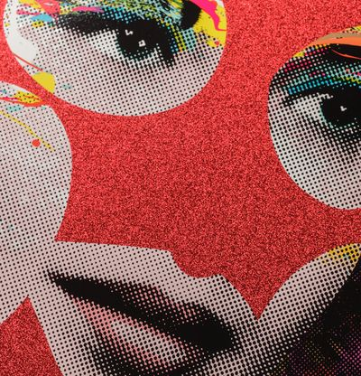 circular print of a woman's face with red glitter areas and a patterned background by Paul Insect- close up