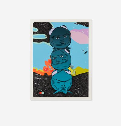 Three heads stacked in abstract landscape, 3 The Hard Way by Hebru Brantley