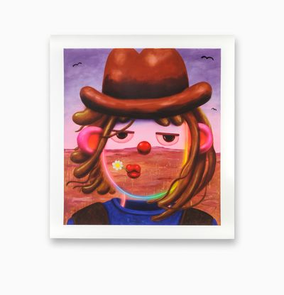 Cowboy character with bright colours and flower in mouth, Billy Big Ears by Super Future Kid