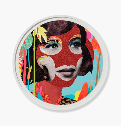 circular print of a woman's face with red glitter areas and a patterned background