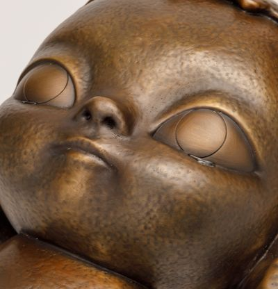 Bronze sculpture of person with tears, KIRA (Burnished Gold) by Roby Dwi Antono - detail shot