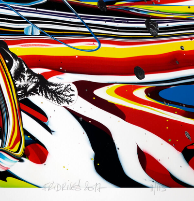 detail of a print of swirling, bright splashes of colour