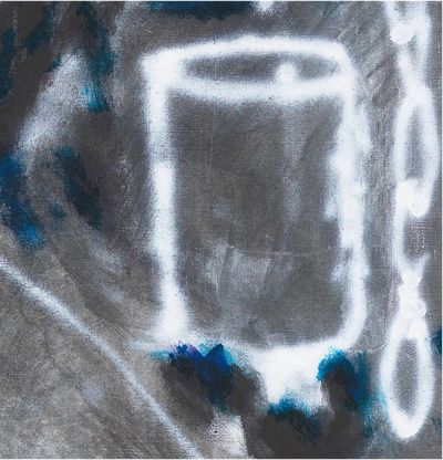 Abstract print of backyard with blue and grey, Paul's Backyard by Chris Succo - close up detail