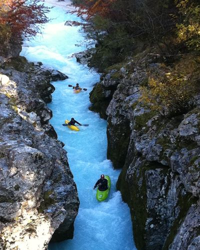 White water rafting in the rapids of the Soca River