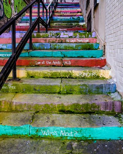 A colourful, painted staircase in Zaragoza, Spain