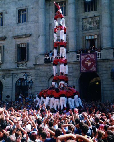 A human tower in Barcelona.