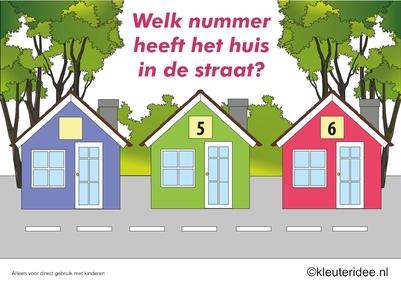 CITOvaardigheden voor kleuters, Welk nummer heeft het huisje in de straat, kleuteridee.nl , What number is the house in the street, free printable.