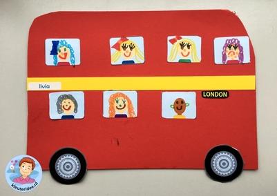 Dubbeldekker knutselen, Thema Engeland, English bus craft, kleuteridee