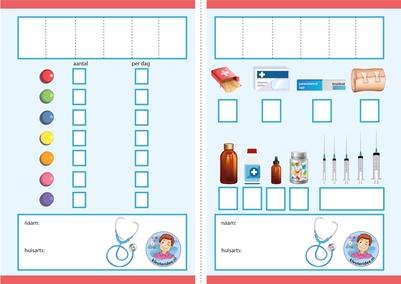 recept stempelen, thema ziek, dokter, kleuteridee, free printable