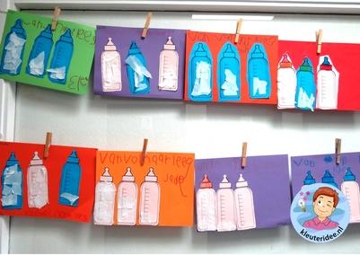 Flessen van vol naar leeg, kleuteridee.nl, thema baby's