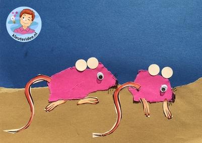 Muizen scheuren met kleuters, met gratis download voor staart en poten, kleuteridee.nl, Kindergarten mouse craft with free printable 5