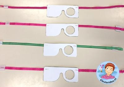 testbril GGD - schoolarts maken, thema het oog, kleuteridee 3.