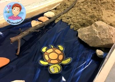 thematafel schildpad, kleuteridee, schildpaddenstrand met eieren 3