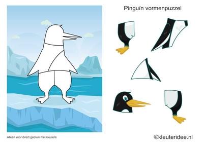 Vormenpuzzel pinguin, kleuteridee.nl , penguin puzzle , free printable.