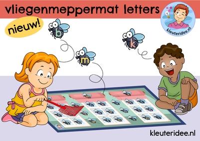 Vliegenmeppermat om letters te leren, kleuteridee