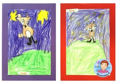 Een vos tekenen, kleuteridee.nl, stap voor stap met kleuters 2