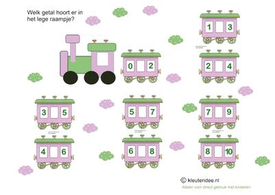 Welke getallen horen in de lege wagons 3, kleuteridee.nl, free printable.