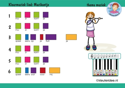 Bladmuziek voor kleuters, Muzikantje speel eens op je fluitje, thema muziek, kleuteridee.nl, free download