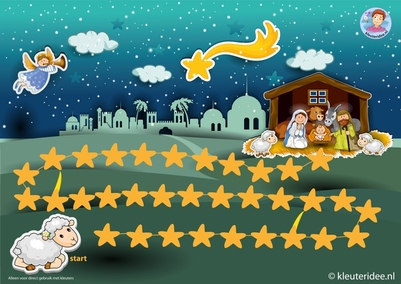 Zoek het Kerstkind, spelbord op A3 voor kleuters, thema kerst, juf Petra kleuteridee.nl, free Nativity gameboard, go to the stable and find jesus. free printable.