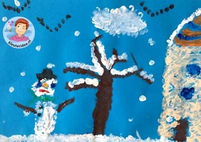 sneeuw verven met viltstaafjes, thema winter kleuteridee.
