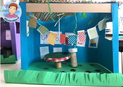 Loofhut knutselen met kinderen, Kindergarten sukkah craft, kleuteridee 3