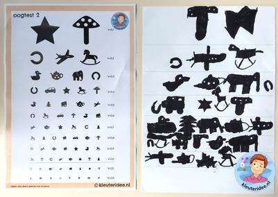 Oogtest maken met kleuters, kleuteridee, thema het oog, bril, Kindergarten eye theme glasses 3.
