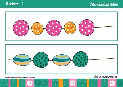Citovaardigheden voor kleuters, reeksen, kaart 1, kleuteridee.nl , met lessuggesties, series for preschool, card 1.