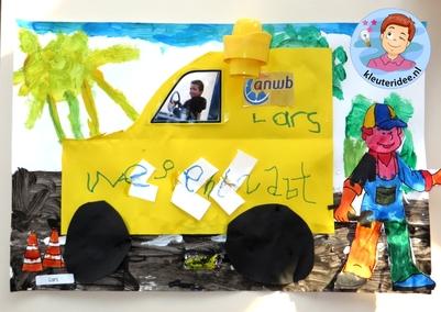 Knutselen thema 'pech onderweg', wegenwacht ANWB 3 voor kleuters, kleuteridee