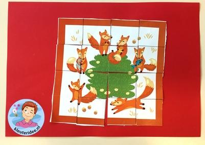 Puzzel vos voor kleuters, kleuteridee, thema dieren onder de grond 2