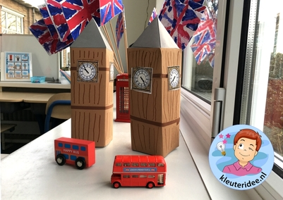 Big Ben knutselen met kleuters, thema Engeland, Big Ben craft kindergarten, kleuteridde