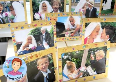Kleuters maken een gouden lijst voor hun bruidsfoto, kleuteridee.nl, thema fotograaf, Kindergarten Photgrapher theme.