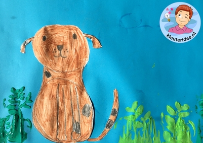 hond tekenen stap voor stap, thema de hond, kindergarten dog theme, draw a dog step by step, kleuteridee 5