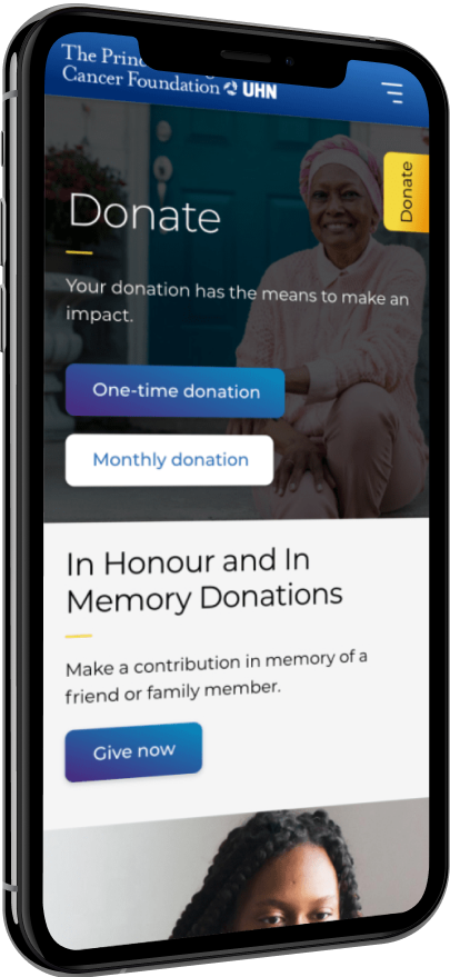 A phone with the donate screen