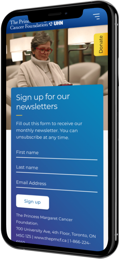 A phone with the signup for newsletter screen