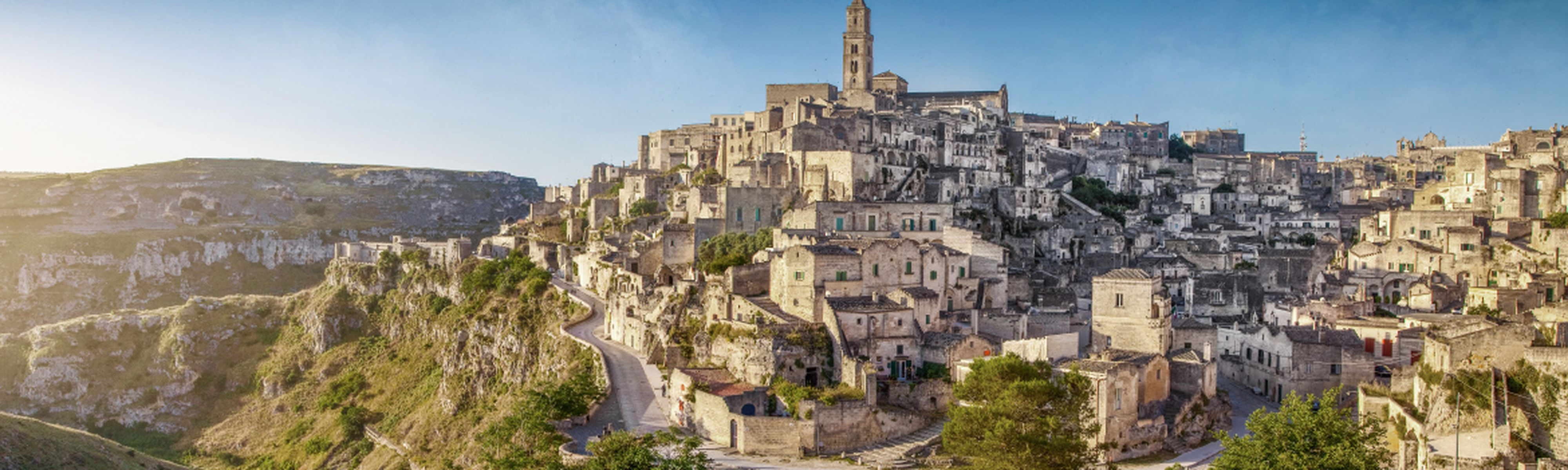 Hilltop of city in Matera, Italy
