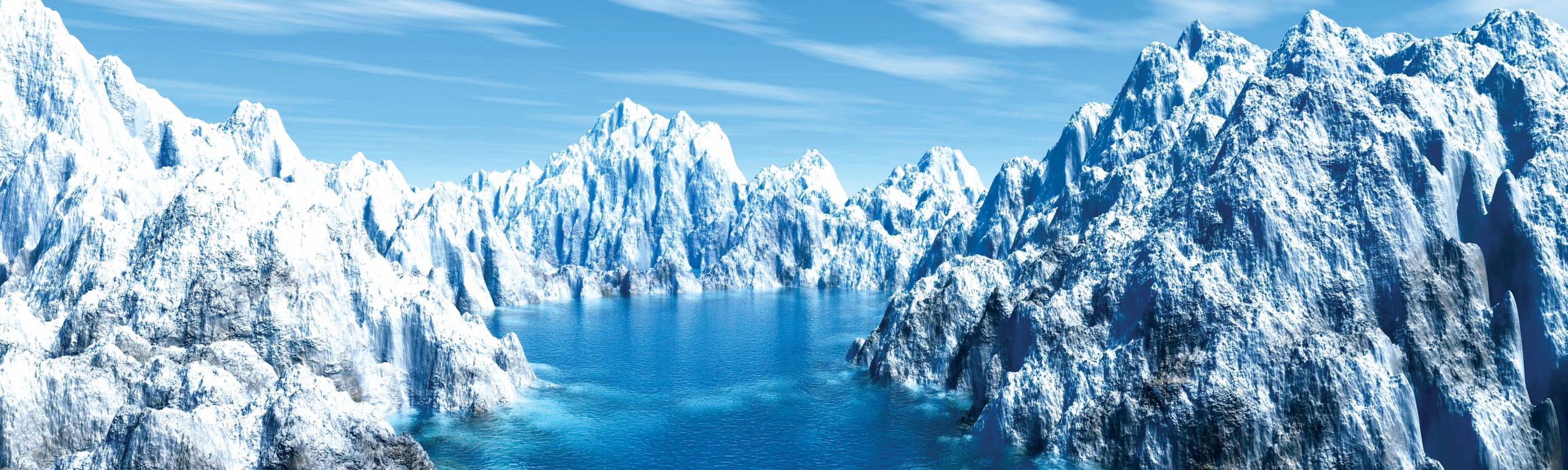 glaciers in antarctica in bright blue water