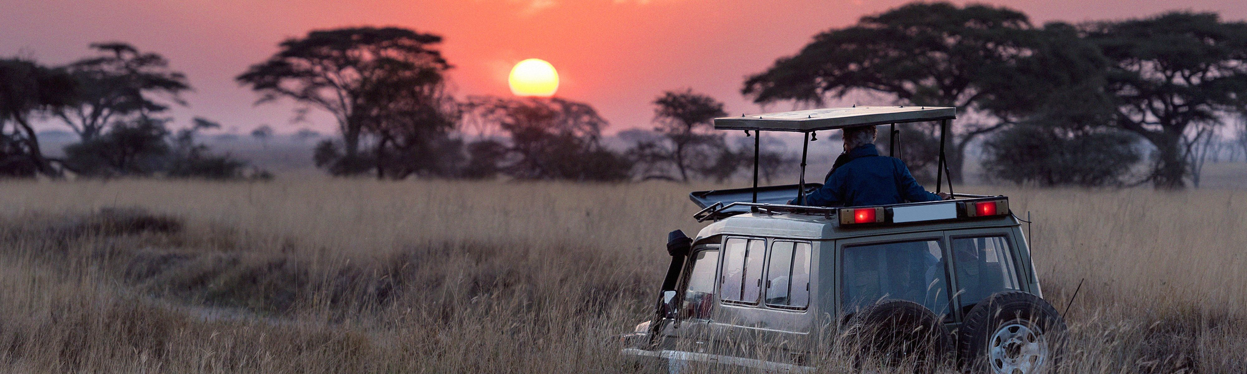 group of travelers riding in a safari jeep through grass fields in africa during sunset