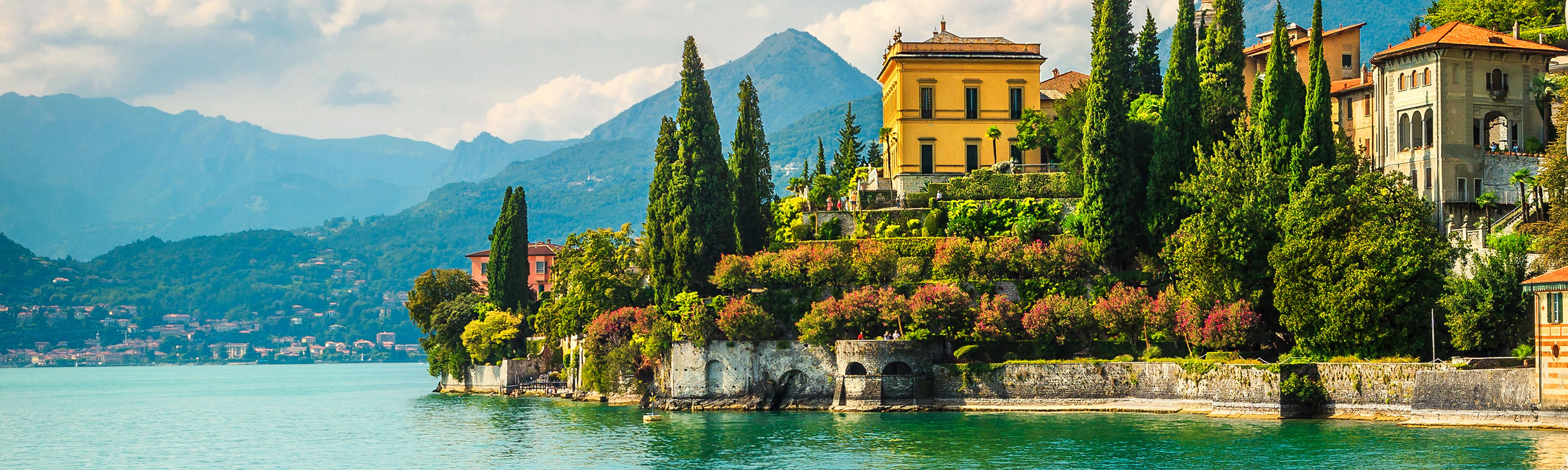Villa Monastero with Mediterranean flowers at Lake Como, Italy