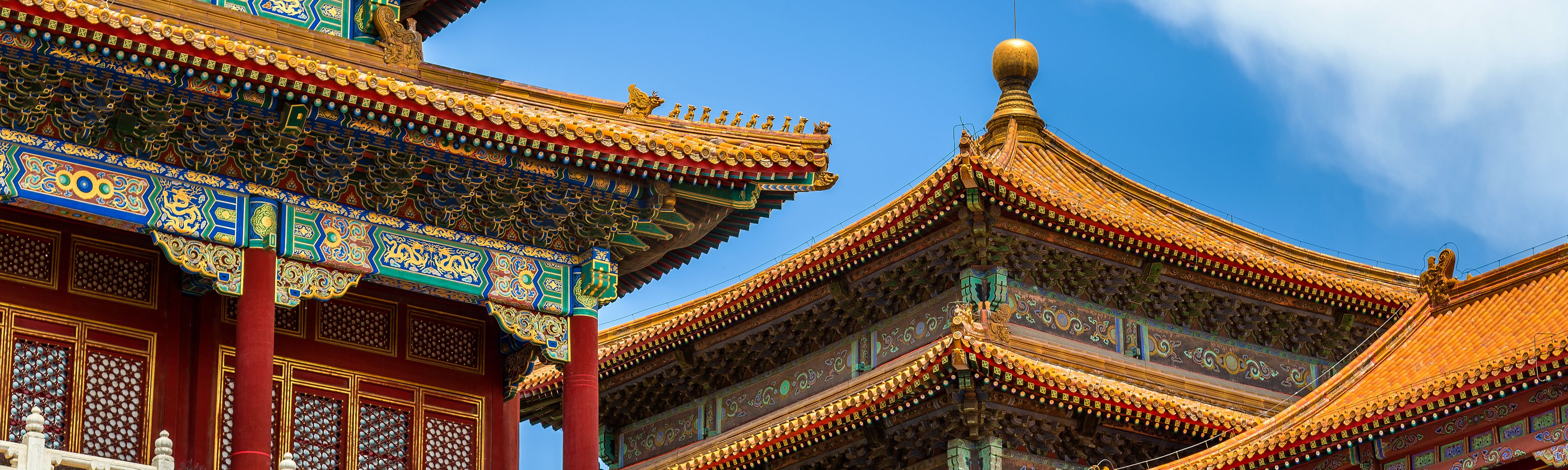 colorful chinese shrines roof tops
