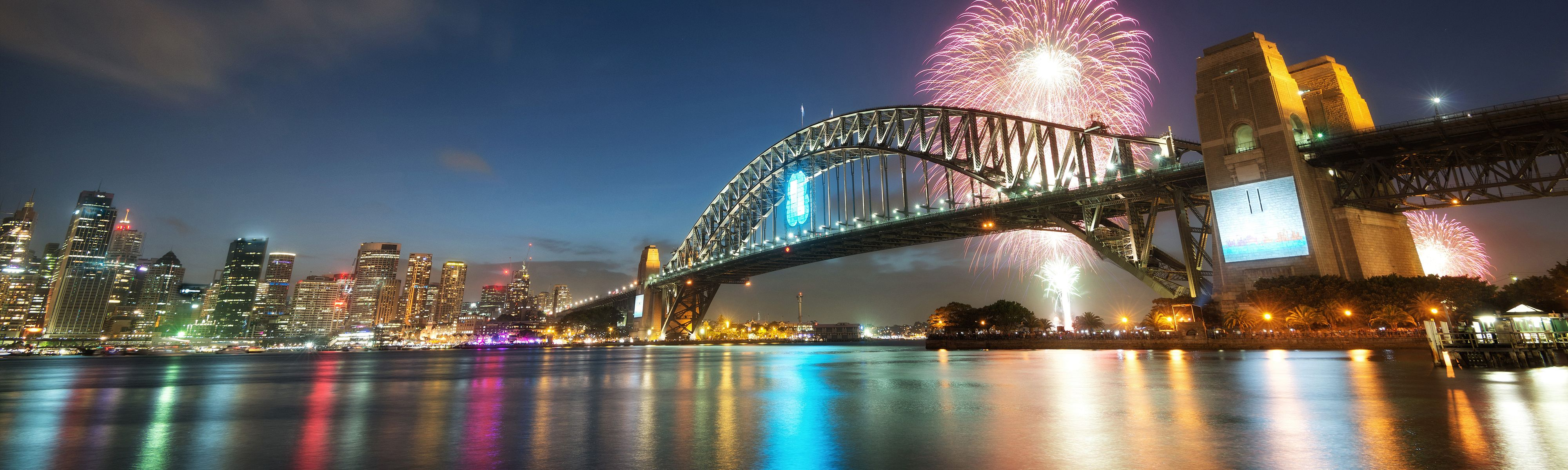colorful fireworks in sydney harbour
