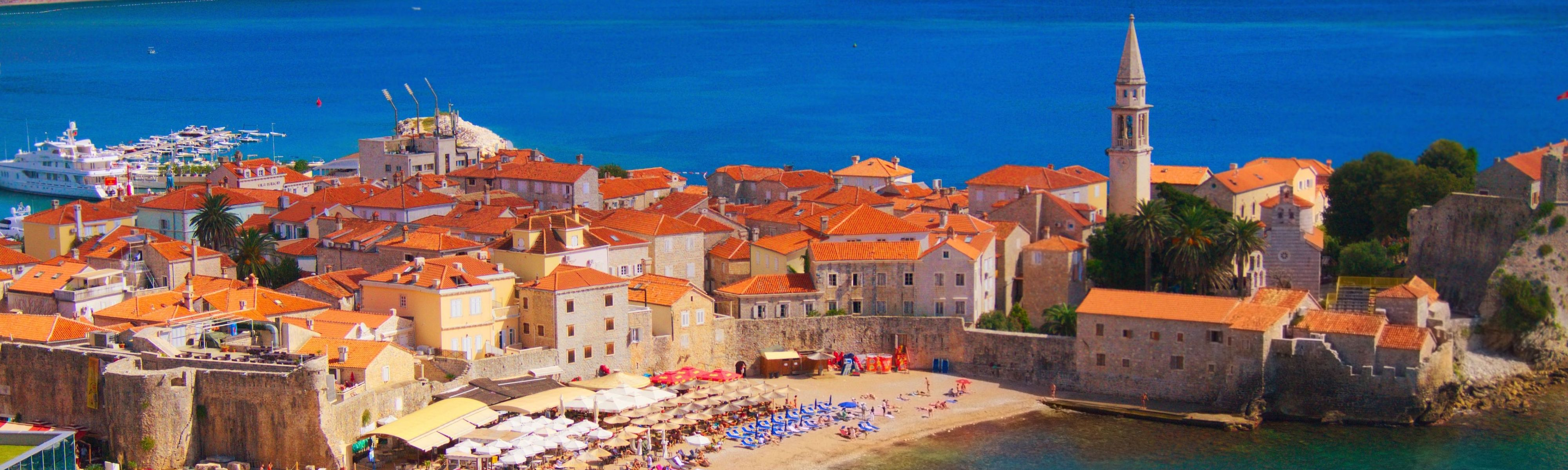 coastal old town in budva montenegro on a sunny day