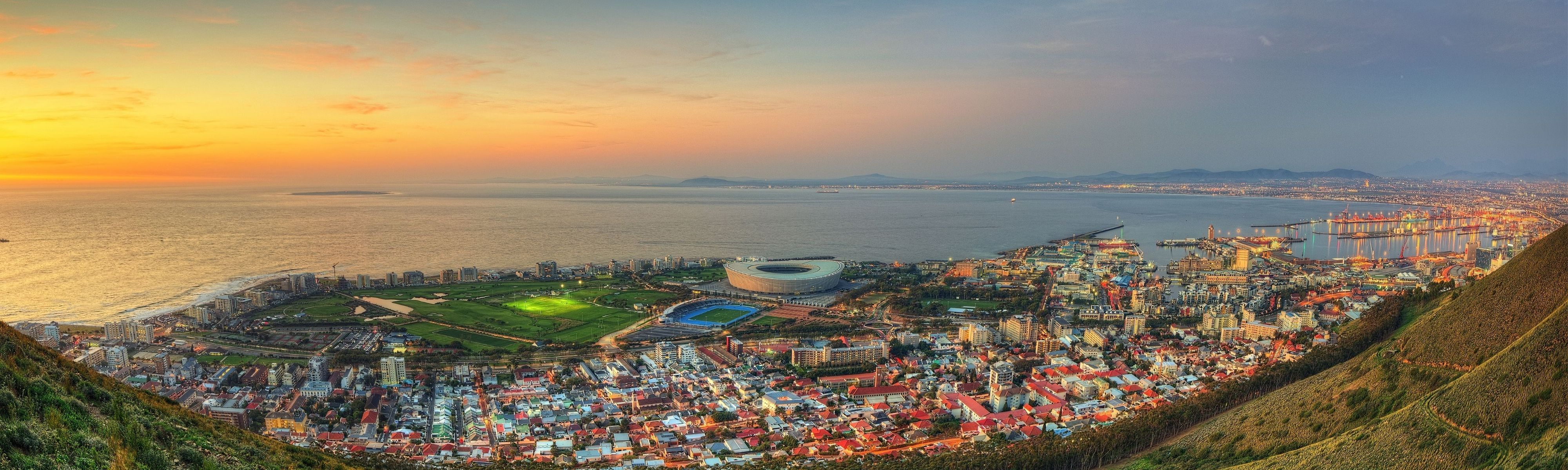 aerial view of cape town in south africa at sunset