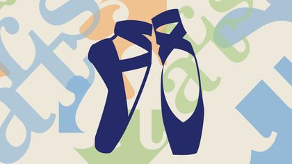 A colorful background with dark blue ballet shoes.