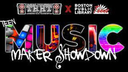 """A colorful banner with the words """"Teen Music Maker Showdown"""" in a graffiti style on a black background."""