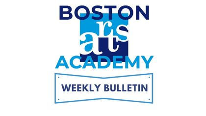 """The Boston Arts Academy logo with """"Weekly Bulletin"""" underneath in all blue on a white background."""