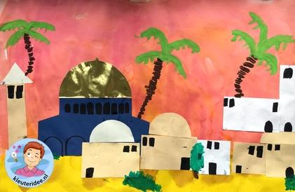 Jeruzalem collage knutselen, Kindergarten Jerusalem craft, kleuteridee 2