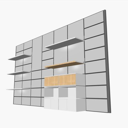 A 3d Rendering of a gray wall utilizing System 1224 shelves.